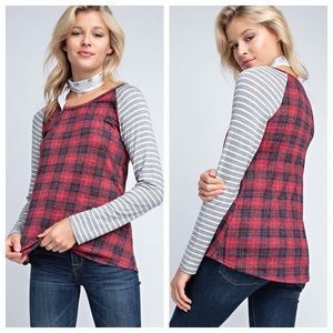 Long sleeve w/ checkered body & striped sleeves